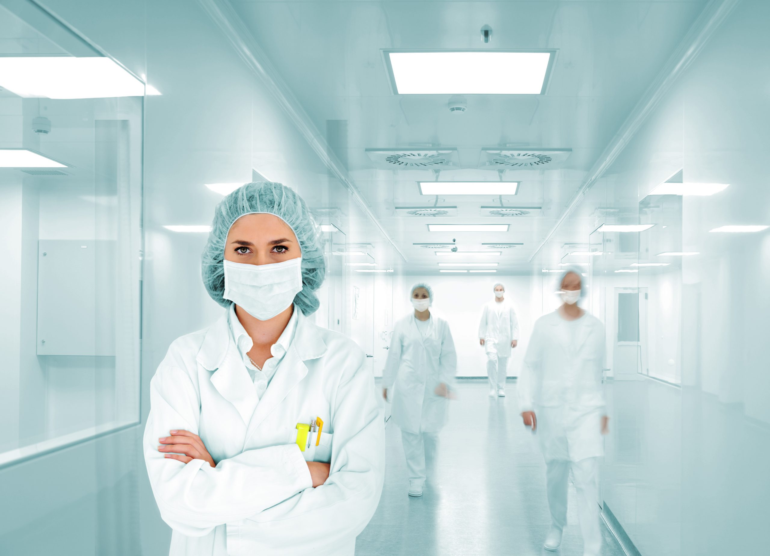 Scientists team at modern hospital lab, group of doctors